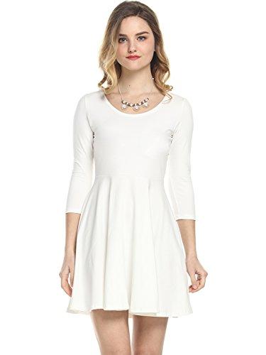 Amoretu Femmes Été Une Ligne Robe Évasée Mini Robes Patineuse Occasionnels Manches 3/4 Blanc Solide