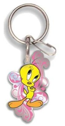 Looney Tunes Tweety Bird Happy in Pink Enamel Key Chain (Tweety Bird Key Ring)