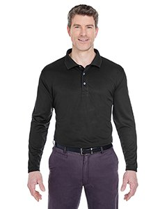 (UltraClub Mens Cool & Dry Sport Long-Sleeve Polo (8405LS) -BLACK -XL)