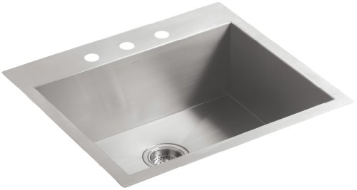 """KOHLER Vault 25"""" Single Bowl 18 Gauge Stainless Steel Kitchen Sink with Three Faucet Holes K-3822-3-NA Drop-in or Undermount Installation"""