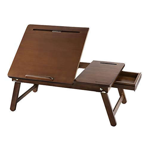 Laptop Lap Desk NNEWVANTE Bed Tray Table Adjustable 100% Bamboo Foldable Laptop Table Breakfast Serving Tray w' Tilting Top Drawer Leg Lock- Chestnut Color ()