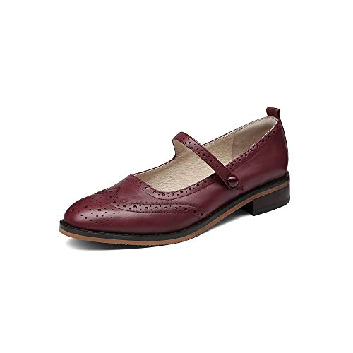 MANRINO Mary Classic Real Leather Comfortable Womens Slip On Mary Jane Flat Oxford Shoes for Lady Thin Ankle Strap Block Kitten Heel Genuine Leather Dress Shoes (US 7.5, Wine Red)