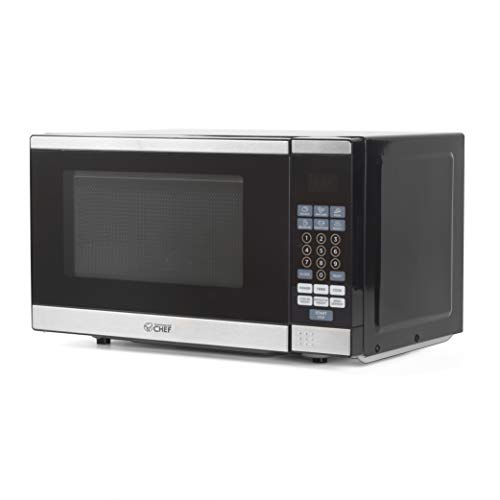 Commercial Chef CHM770SS Countertop Microwave, 0.7 Cu. Ft, Black With Stainless Steel Trim