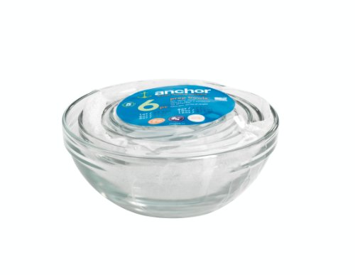 Anchor Hocking 4907 6-Piece Glass Prep Bowl Set, Clear