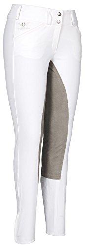 TuffRider Women's Piaffe Full Seat Breeches, White/Charcoal, - Full Fleece Seat
