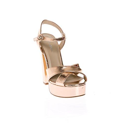 CALICO KIKI CAELA-CK01 Women's Buckle Ankle Strap Open Toe Chunky High Heel Platform Dress Sandals (6.5 US Rosegold MET)