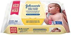 Toalha Hipoalergenica Recem Nascido, Johnsons Baby, Branco, Pacote de 96 unidades