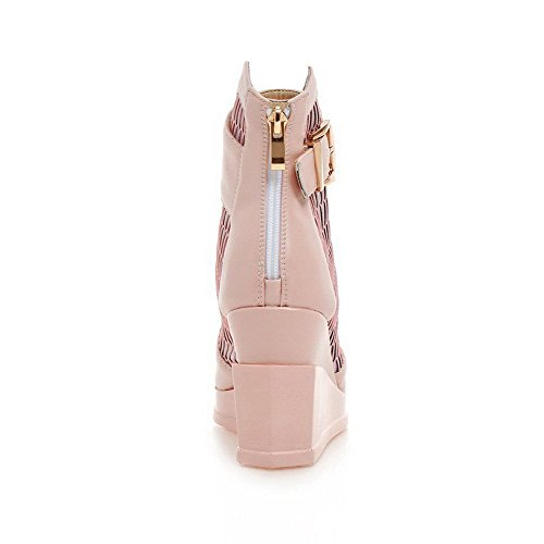 AllhqFashion Women's Peep Toe Zipper PU Solid High-Heels Sandals Pink p7IbUHLbYn