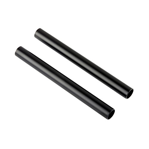 NICEYRIG 15mm Rods Aluminum Alloy Rail 6 inch Long for 15mm Rod Matte Box 15mm Rods System Black (Pack of 2) (Anodized Aluminum Rod)