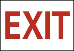 "Nmc Vinyl Exit Sign - 10X7"" - Emergency Exit Only - Exit"