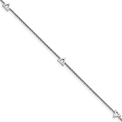 top Black Bow Jewelry Rhodium-Plated Sterling Silver Triangle & Cable Chain Anklet 9-10 Inch for sale