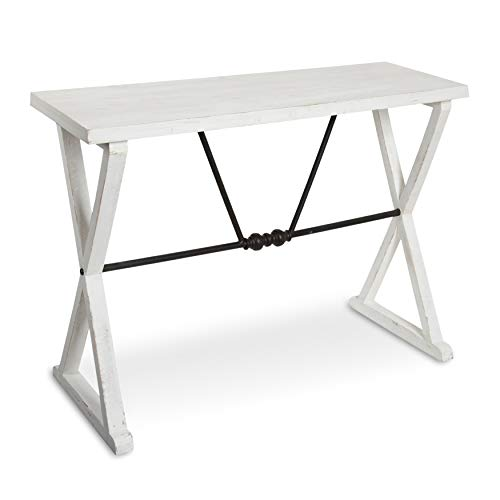 Kate and Laurel Travere Wood Console with Black Metal Support Bar, White (Decorating A Sofa Table Behind A Couch)