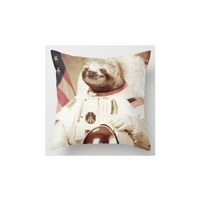 Guse Case Special Design Interesting Sloth Astronaut Stirpes Star Cotton Throw Pillow Case Home Custom Cushion Cover 18 X 18 Inch One Side - 6124657890563