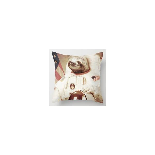 Guse Case Special Design Interesting Sloth Astronaut Stirpes Star Cotton Throw Pillow Case Home Custom Cushion Cover 18 X 18 Inch One Side -