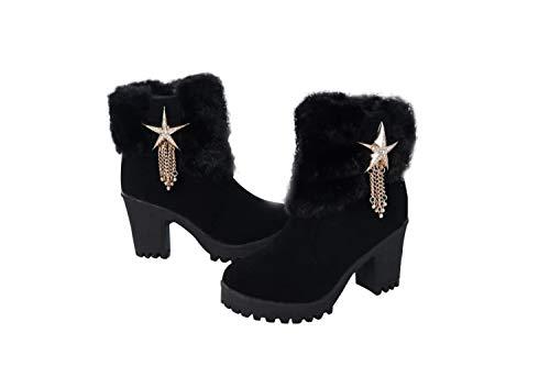 Mujer Tacones Con Moda Nieve Para Botas Gruesas Zapatos Altos QCtdhxsBr