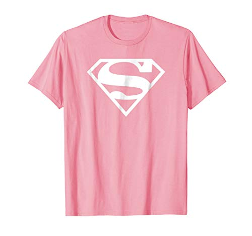 Supergirl White & Pink Shield T Shirt ()