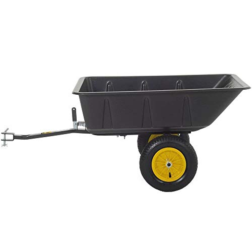 Atv Tires Trailer (Polar Trailer 9393 LG7 Lawn and Garden Utility Cart, 65 x 31 x 28-Inch 600 Lbs Load Capacity 10 Cubic Feet Tub Quick Release Tipper Latch Tilt-and-Swivel Dumping and Hauling Cart, Black)