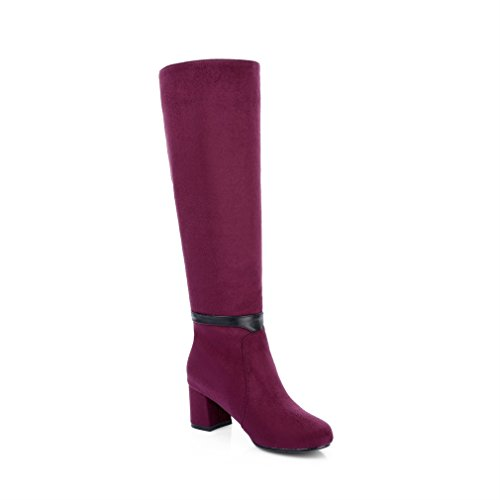 ginocchio stivali Block alti Xianshu Rosso al heel Metal su messo Womens THYzqw
