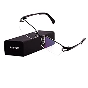 Agstum Pure Titanium Half Rimless Glasses Frame Optical Eyeglasses Clear Lens (Black, 58)