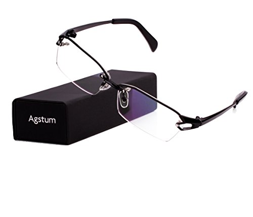 Agstum Pure Titanium Half Rimless Glasses Frame Optical Eyeglasses Clear Lens (Black, - Glasses Lens Single Prescription