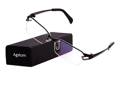 Agstum Pure Titanium Half Rimless Glasses Frame Optical Eyeglasses Clear Lens (Black, - Eye Glasses Titanium