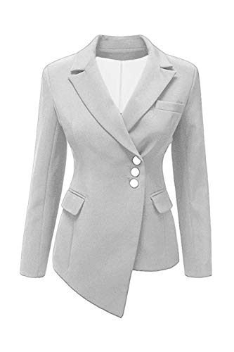 Bavero Da Manica Breasted Outerwear Tailleur Leisure Autunno Slim Fit Single Irregular Monocromo Bianca Lunga Donna Suit Giacca Offlce vwqxH7vd