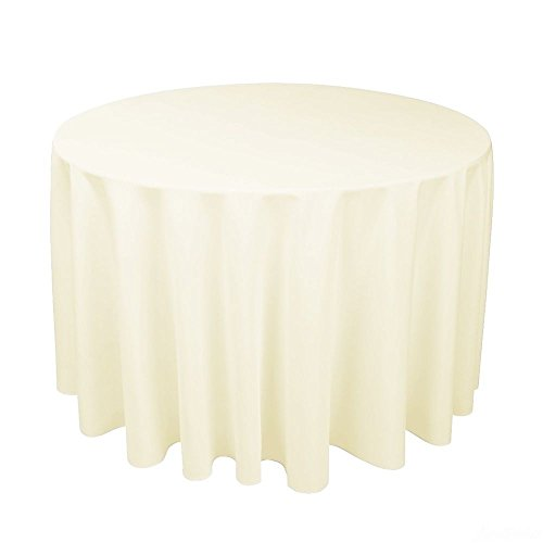 Ivory Round Tablecloths - LinenTablecloth 108-Inch Round Polyester Tablecloth Ivory