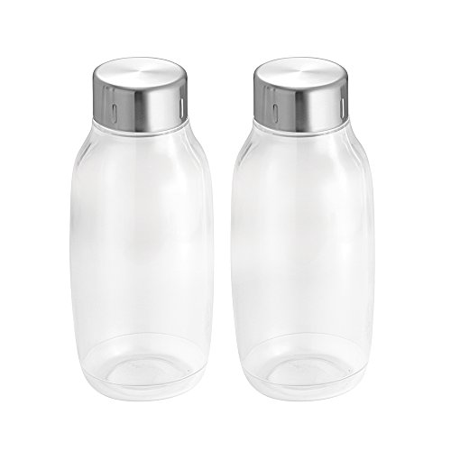 InterDesign Onza Food Storage Bottles with Stainless Steel Lid for Kitchen Pantry, Cabinet to Hold Candy, Milk, Nuts, Juices, Creamer - Set of 2, Medium
