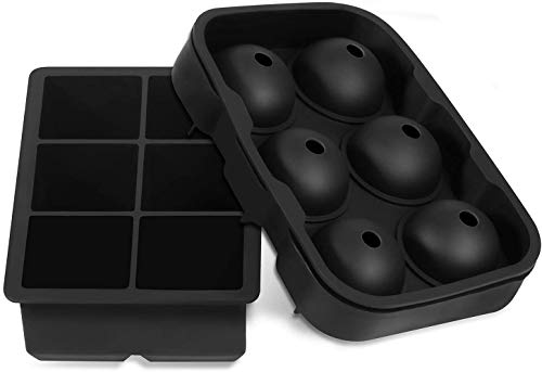 Large Size Ice Maker Hold Silicone Cube Tray and Ball Tray (Set of 2) – Black