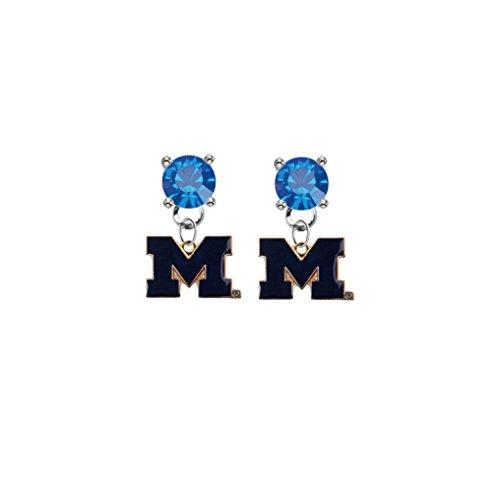 Michigan Wolverines Style 2 Blue Crystal Stud Post Dangle Earrings