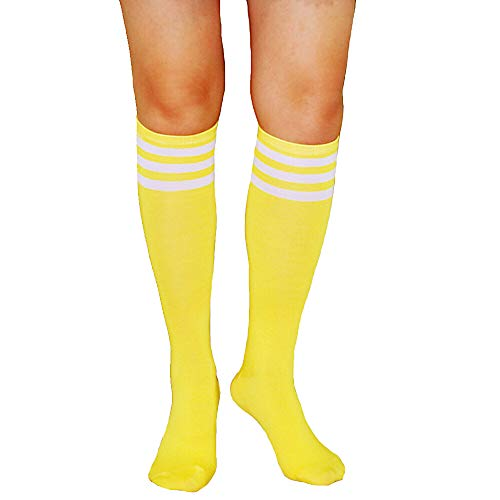 (Unisex Striped Knee High Socks Rainbow Women Girls Over Calve Athletic Soccer Tube Cool Fun Party Cosplay Socks, Yellow+White Stripe, One Size)