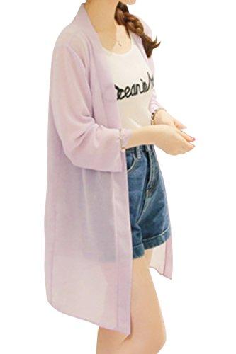 (PlaisteL) シースルー ロング カーディガン レディース 春夏 シフォン 薄手 長袖 七分袖