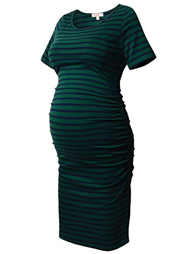 Striped Maternity Dress Short Sleeve Bodycon Ruched Side Knee Length Dress Green with Navy Stripe S