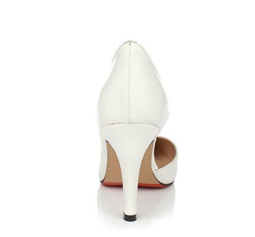 Amoonyfashion Donna Tacco Alto Materiale Morbido Solido Pull-on Scarpe A Punta Chiuse Punta-scarpe Bianche