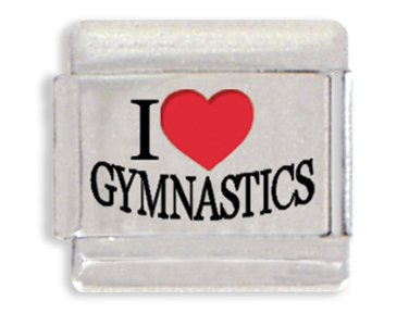I Love Gymnastics Laser Italian Charm Bracelet Link ()