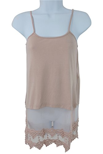 Simple Solid Knit Lovely Lace Trim Crop Top Extender Cami Tank Top (XL, Dusty Pink)