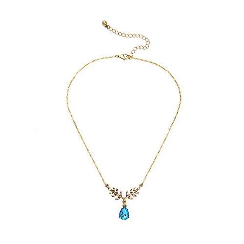 Collier doré feuilles et cristal facetté bleu
