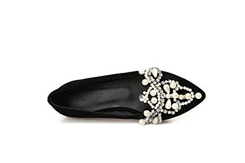 Balamasa Womens Bead Glas Diamant Bezaaid Klinknagel Geïmiteerd Suede Pumps-schoenen Zwart