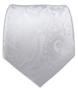 3421fd25104ba Image Unavailable. Image not available for. Color: The Tie Bar 100% Woven  Silk White Organic Paisley Tie