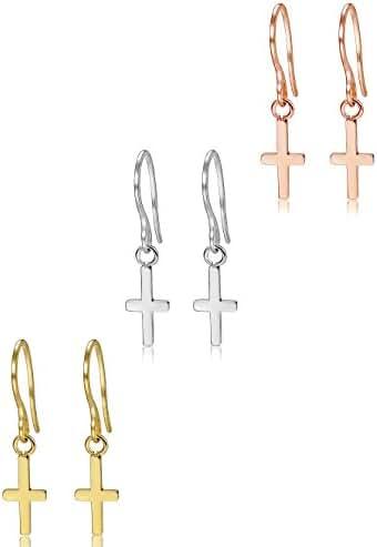 ORAZIO 3 Pairs Stainless Steel Women Cross Dangle Earrings Fish Hook Drop Earrings