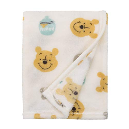 Disney Winnie The Pooh, Ivory, Yellow And Aqua Super Soft Plush Baby Blanket, Ivory, Yellow, Aqua