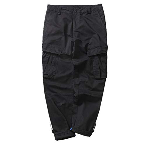 Zhxinashu Larga Tuta Da Casuale Sciolto Uomini Lavoro Nero Maschio Dritti Pantaloni Taglia Multi Pocket 88WrawBq