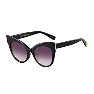 Oversized Cat Eye Frame UV400 Womens Sunglasses , Black Fashion Trend Eyewear (black)