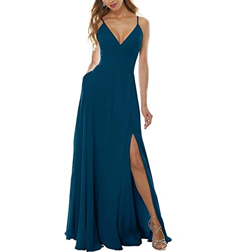 YMSHA Women's Side Split Bridesmaid Gowns V-Neckline Spaghetti Straps Long Prom Party Dresses 2 Peacock