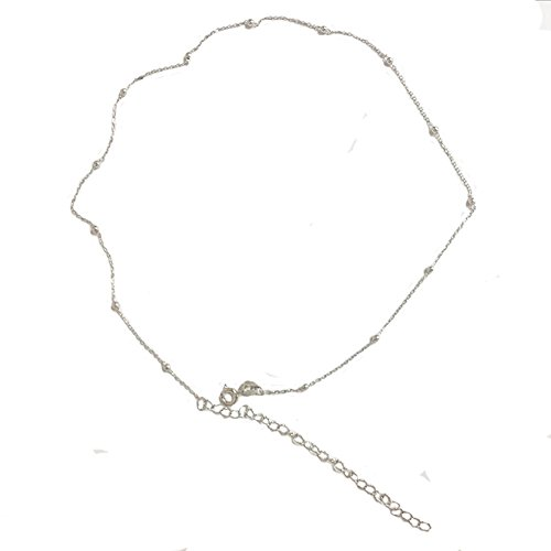 Minimalist Sterling Silver Choker Necklace Thin Bead Ball Necklace (Silver)