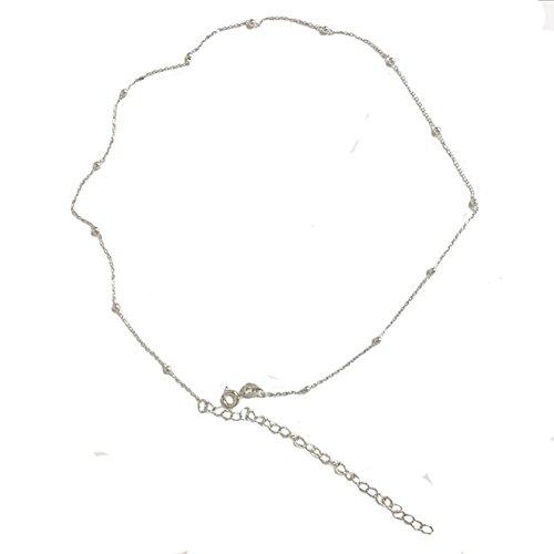 Amkaka Minimalist Sterling Silver Choker Necklace Thin Bead Ball Necklace (Silver) - Minimalist Everyday Necklace