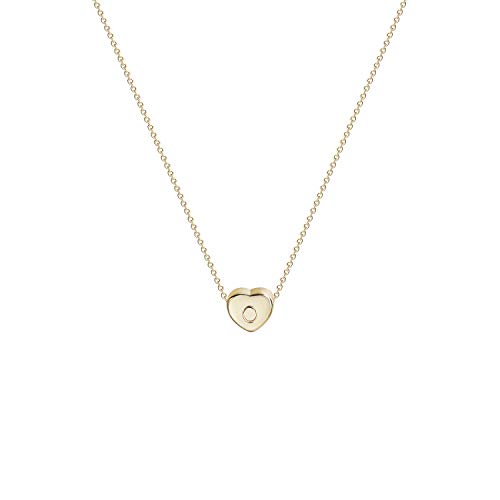 Gold Name Jewelry - Tiny Gold Initial Heart Necklace-14K Gold Filled Handmade Dainty Personalized Letter O Heart Choker Necklace Gift for Women Kids Child Alphabet Necklace Jewelry (O)