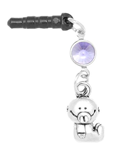 (Clayvision Baby Girl or Boy Phone Charm Tanzanite Colored Crystal June Black Plug)