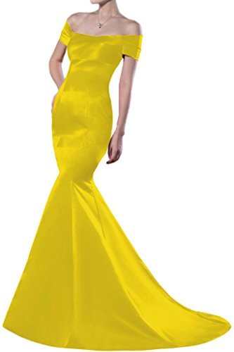 Mermaid spalla per Off raso the Homecoming Yellow sera da Sunvary abiti lungo Gowns dnxw6Td