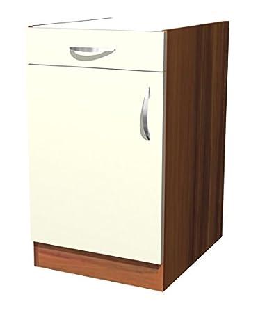Küchen unterschrank ohne arbeitsplatte  smartmoebel Küchen Unterschrank 50 cm Creme Matt ohne Arbeitsplatte ...